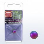 Le faux piercing pour la langue en acier chirurgical couleur arc en ciel