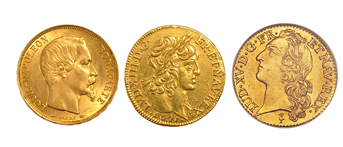 trois louis d'or différent