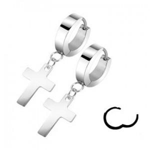 boucles oreilles homme anneau avec croix