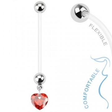 piercing au nombril femme enceinte coeur rouge