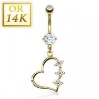 piercing or pour nombril motif coeur