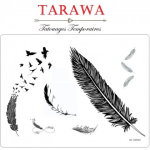 tatouage éphémère plume