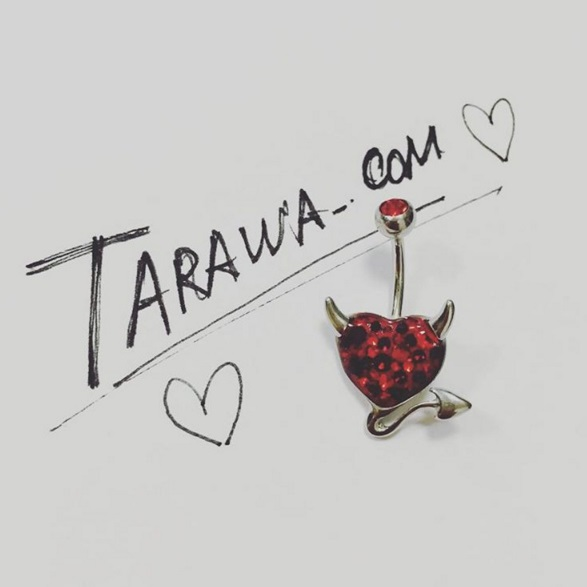 Piercing nombril coeur en cristal de Swarovski fait main