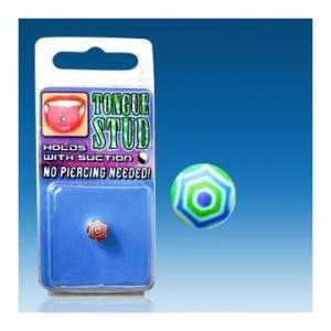 faux piercing langue vert fluo