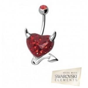 piercing au nombril coeur démon cristaux swarovski