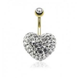 piercing au nombril coeur cristaux de swarovski