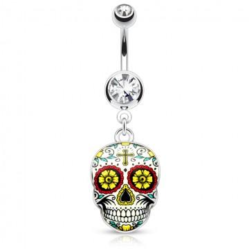 piercing-nombril-pendentif-tete-de-mort-mexicaine-pas-cher