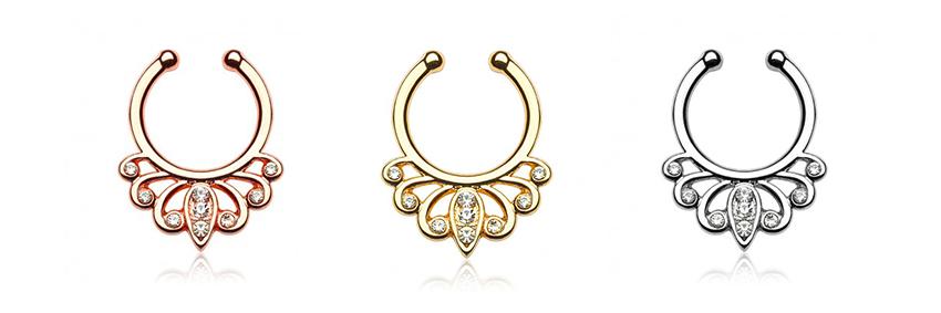 magnifiques faux piercings pour le septum disponible sur tarawa.com avec cristaux disponibles en trois colories