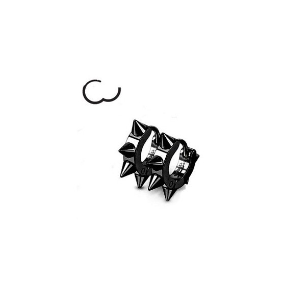 boucle oreille spike acier noir pour homme