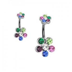 Piercing fleur marguerite cristaux multicolore