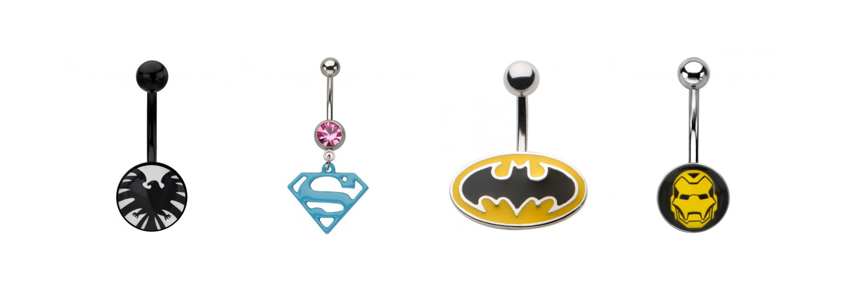 piercing de nombril de la marque marvel et comics disponible sur tarwa tendance été 2016 piercing nombril iron man batman et superman