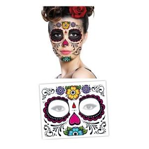 tattoo-masque-fleur-visage-dia-de-los-muertos