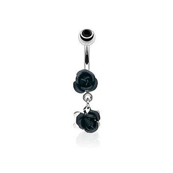 vente de piercing nombril rose noir