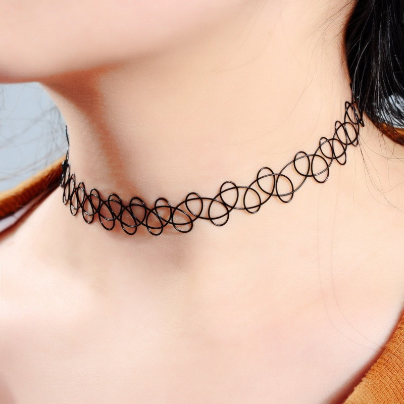 collier ras de cou noir effet tatouage tumblr