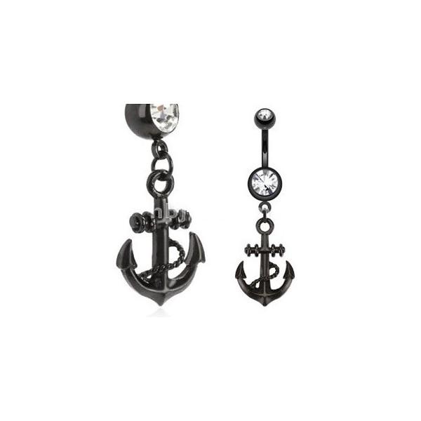 piercing au nombril ancre de marin acier noir