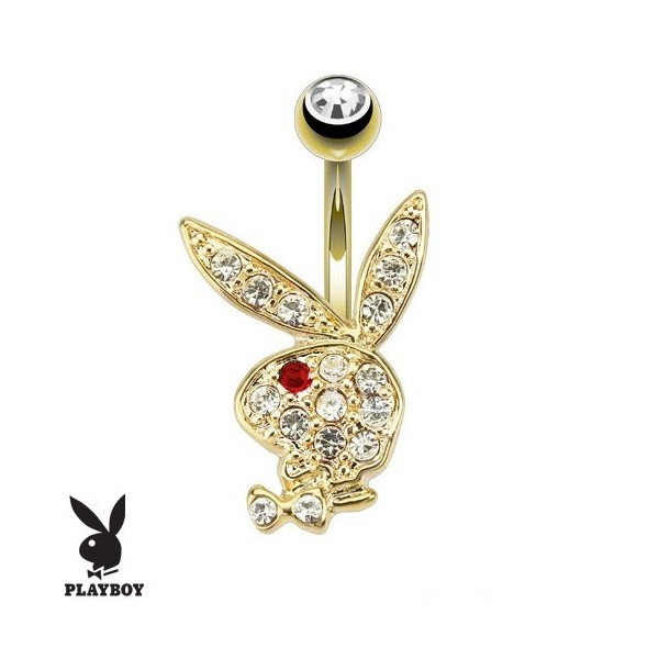 piercing au nombril lapin playboy doré