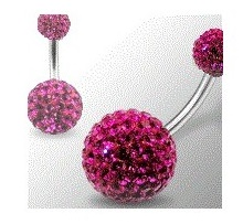 piercing au nombril swarovski rose fushia