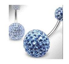 piercing cristal swarovski bleu pour nombril