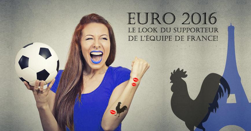 le look du supporteur de l'équipe de france sur tarawa.com. tatouage éphémère coq. tatouage temporaire tour Eiffel. Lentille de couleur drapeau de l'équipe de France.