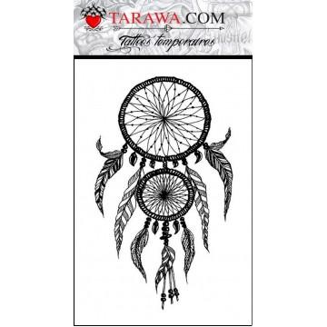 tataouage temporaire couelur noir attrape-rêve grand format