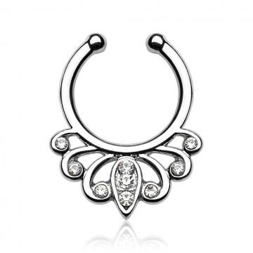 piercing septum couleur argent avec détails orientaux et cristal blanc disponible sur tarawa.com
