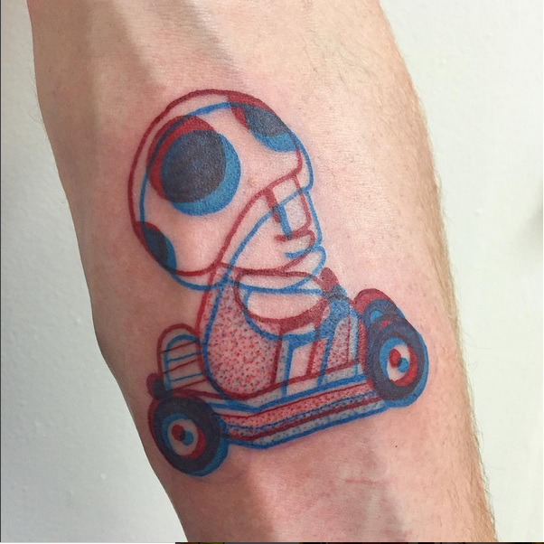 tatouage en 3D instagram mario kart