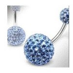 Piercing nombril double Cristal Bleu ciel