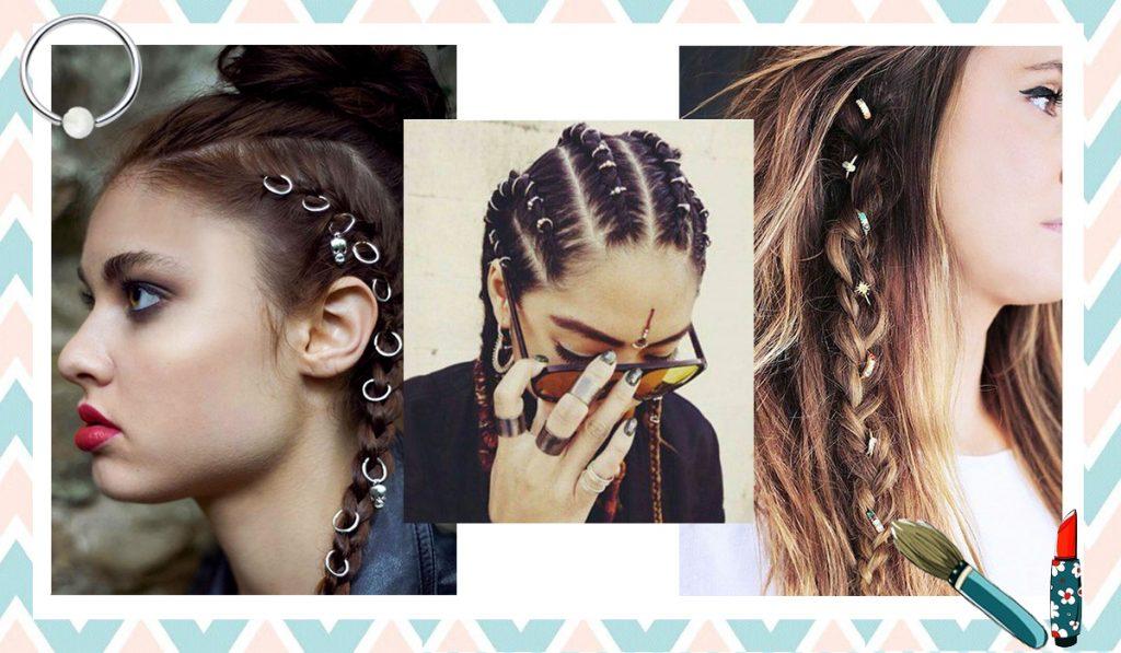 pierci,ng anneaux pour cheveux, nouvelle tendance coiffure