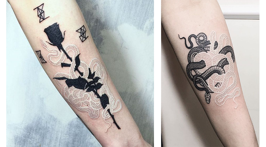 tatouage-encre-blanche-rose-et-encre-noire-tattoo-encre-blanche-motif-serpent
