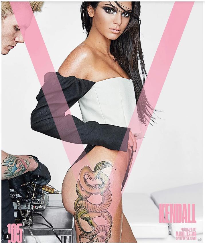 kendall-jenner-pose-avec-un-tatouage-geant-de-serpent-pour-v-magazine