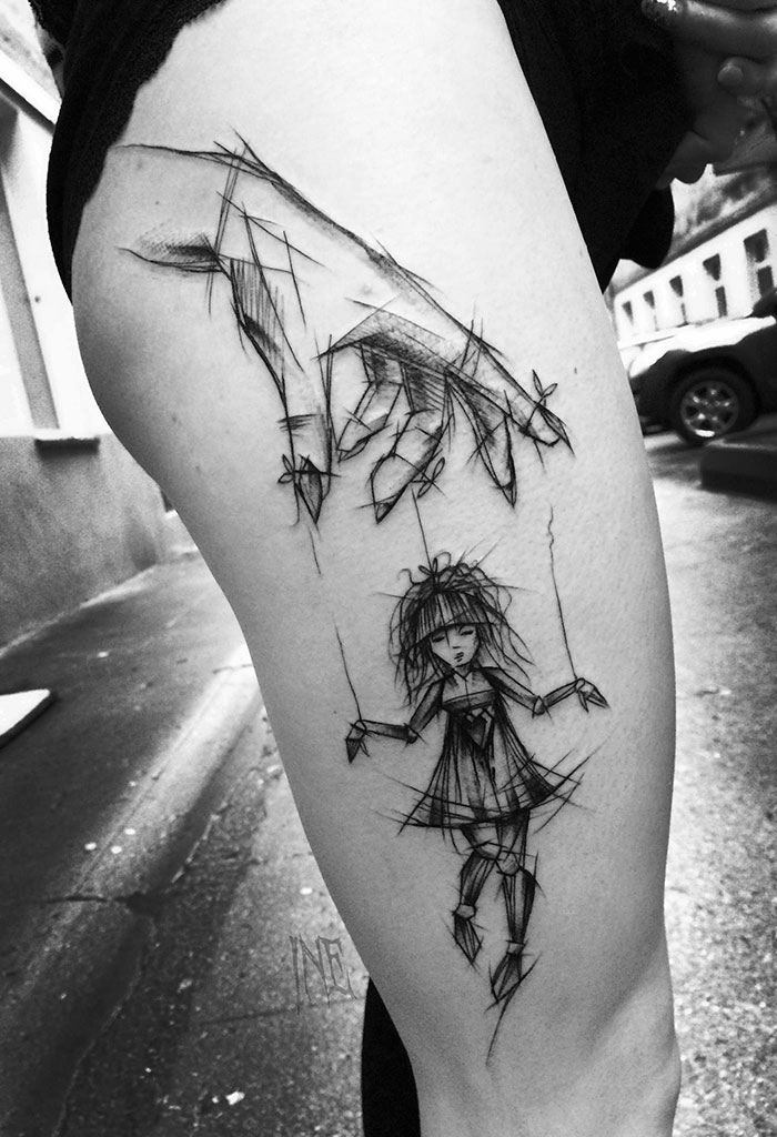 tatouage-jeune-fille-style-croquis-gribouille-inez-janiak